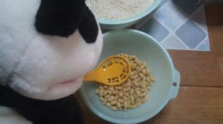 大豆を潰す